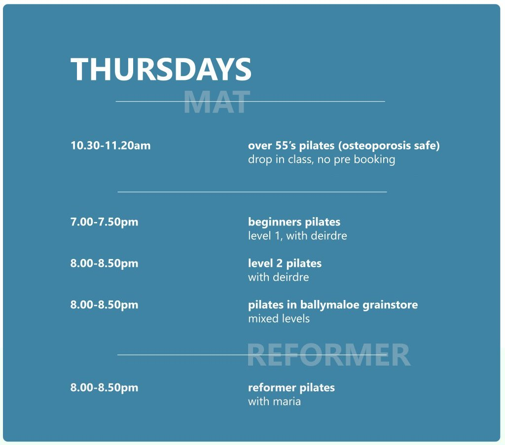 Pilates Studio Midleton - Schedule - Thursday