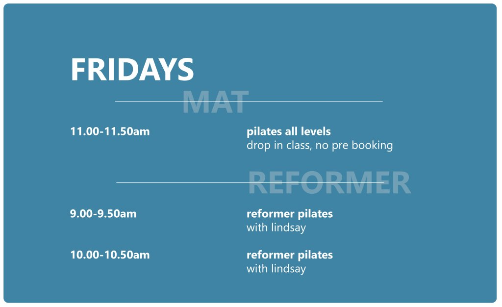 Pilates Studio Midleton - Schedule - Friday