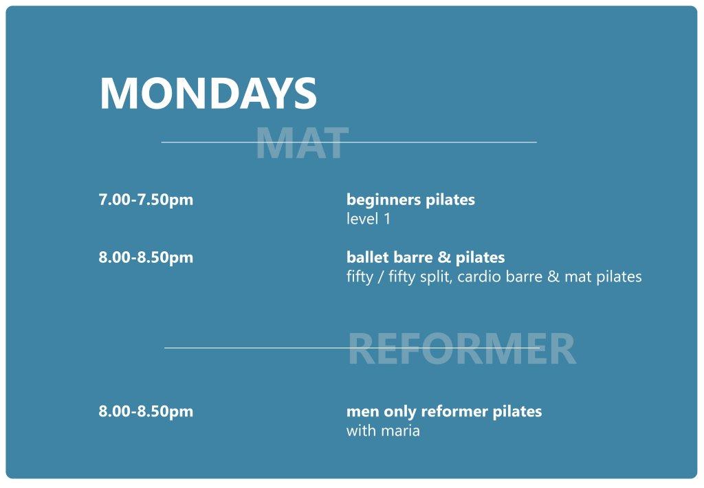Pilates Studio Midleton - Schedule - Monday