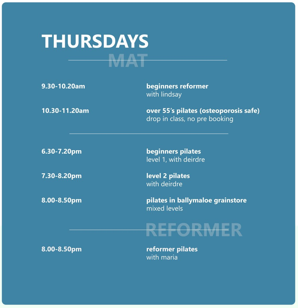 Pilates Studio Midleton - Schedule - Thursday