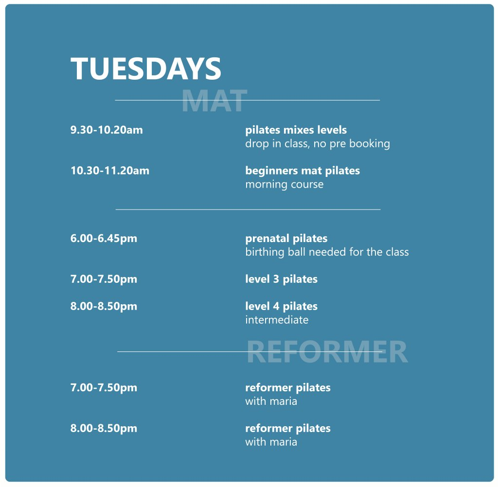 Pilates Studio Midleton - Schedule - Tuesday