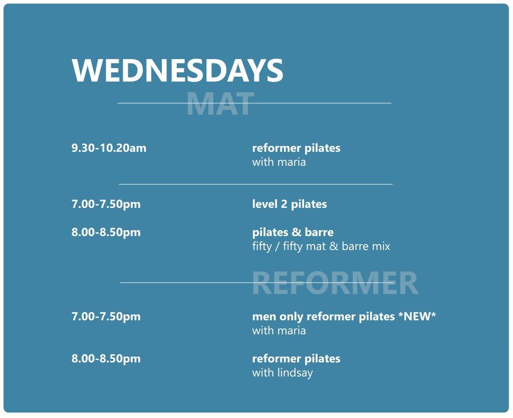 Pilates Studio Midleton - Schedule - Wednesday