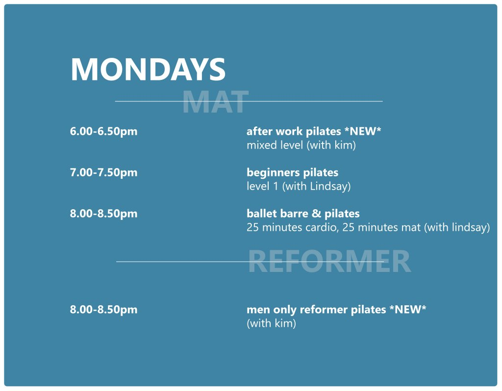 Pilates Studio Midleton - Schedule - Monday