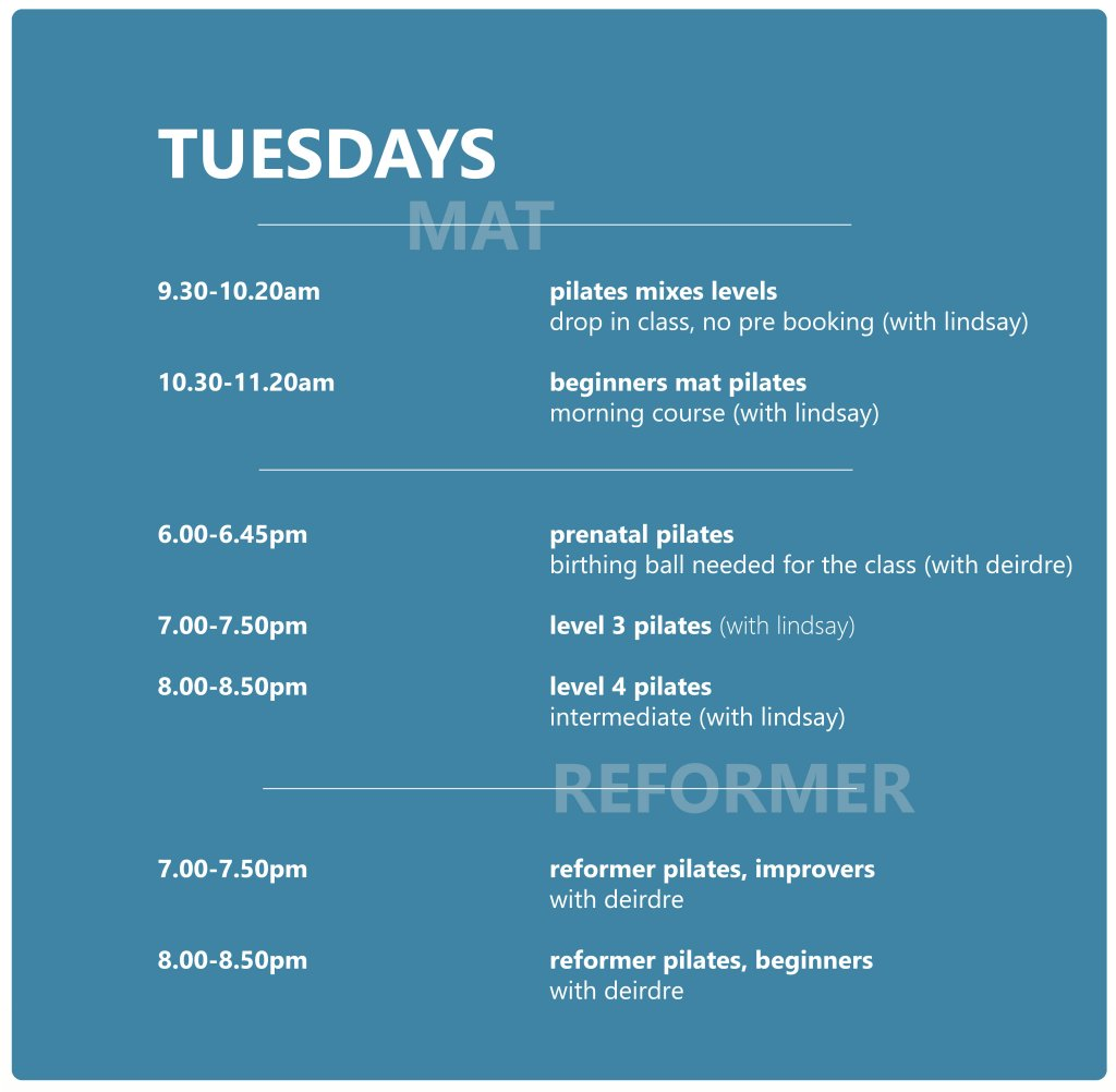 Pilates Studio Midleton - Schedule - Tuesday