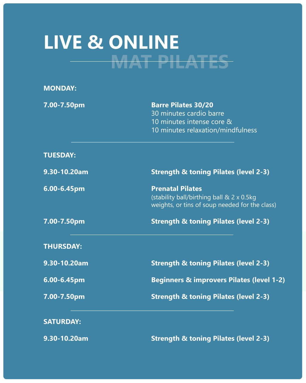 Online Class Schedule - Click to book